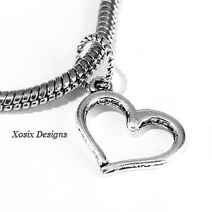 European Open Heart Charm Bead Pendant